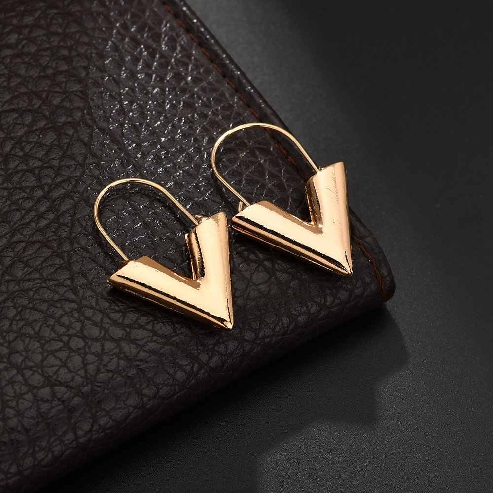 2019 NEW hot fashion gold silver color simple Letter V shape metal geometric sexy Drop Earring Women Jewelry