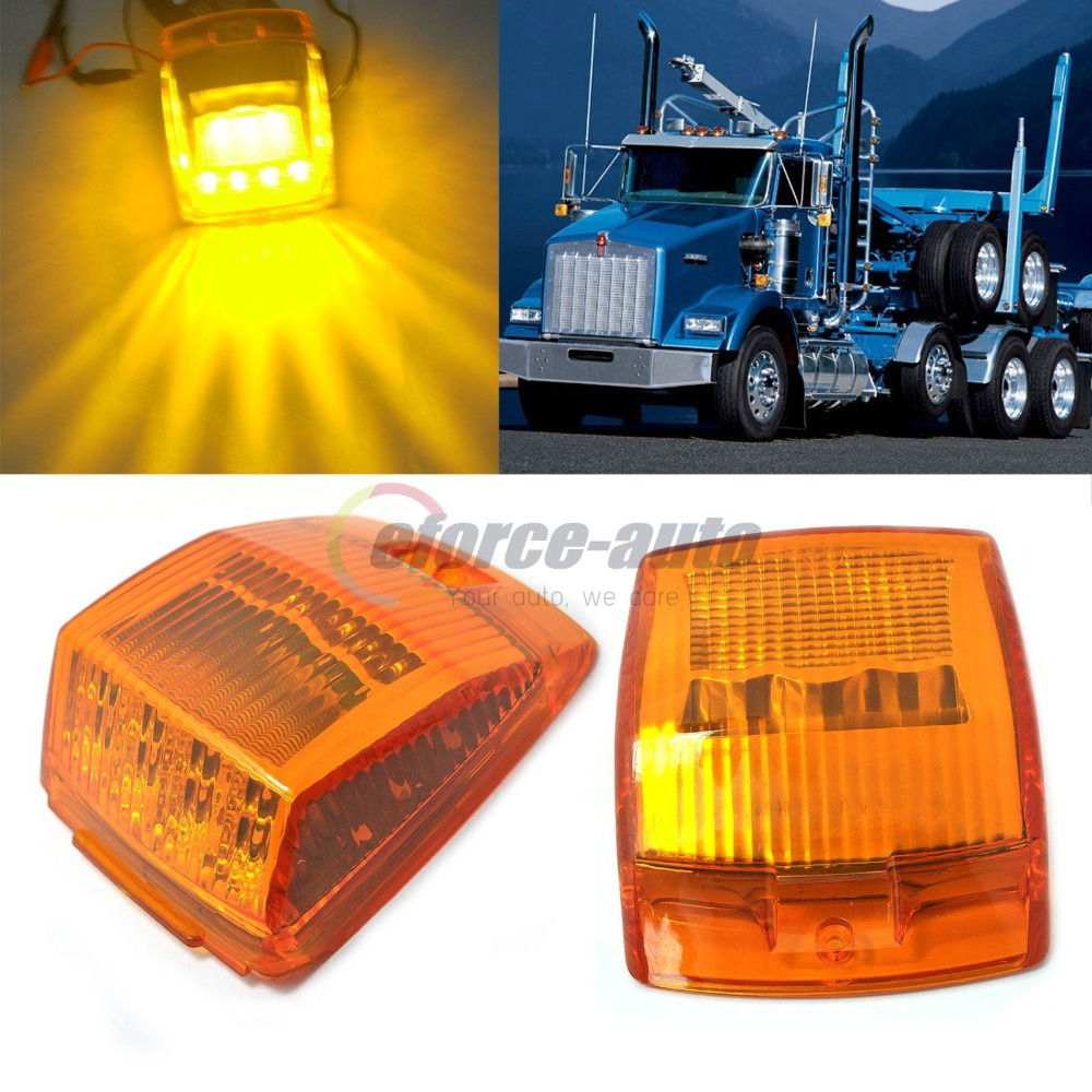 CYAN SOIL BAY 2x 17-LED AMBER ROOF TOP CAB SIDE MARKER FOR KENWORTH TRUCK TRAILER LIGHT LAMPS cyan soil bay 5pcs oval top led cab roof lights running marker smoke lens for dodge ford truck