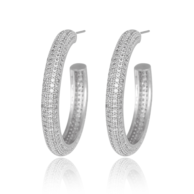 Fashion Women's  Rhodium-Plated Silver Full Crystal Zircon Pave Large Round C Hoop Earrings Big and Small