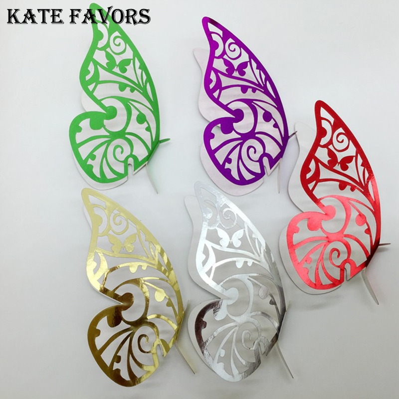 50pcs Laser Cut Reflective Surface Butterfly Table Name Wine Glass Place Card Setting Wedding Party Supplies
