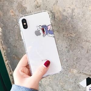 Забавный мультяшный чехол для телефона iPhone X XS Max XR милый чехол с кошкой Томом для iphone 8 7 6 6S Plus мягкий прозрачный силиконовый чехол