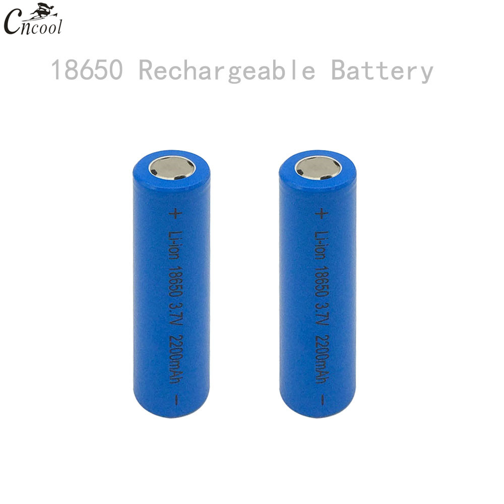 GQYM 2 x 18650 Rechargeable Batteries(not AA battery) 3.7v 2200 mAh Lithium Li-ion Battery With Flat Head for power bank