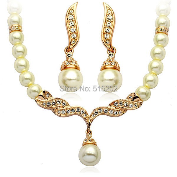 Fashion Pearl Set Alloy Wing Jewelry sets / necklace + earrings Noble jewelry for women 3L Set LM-S107