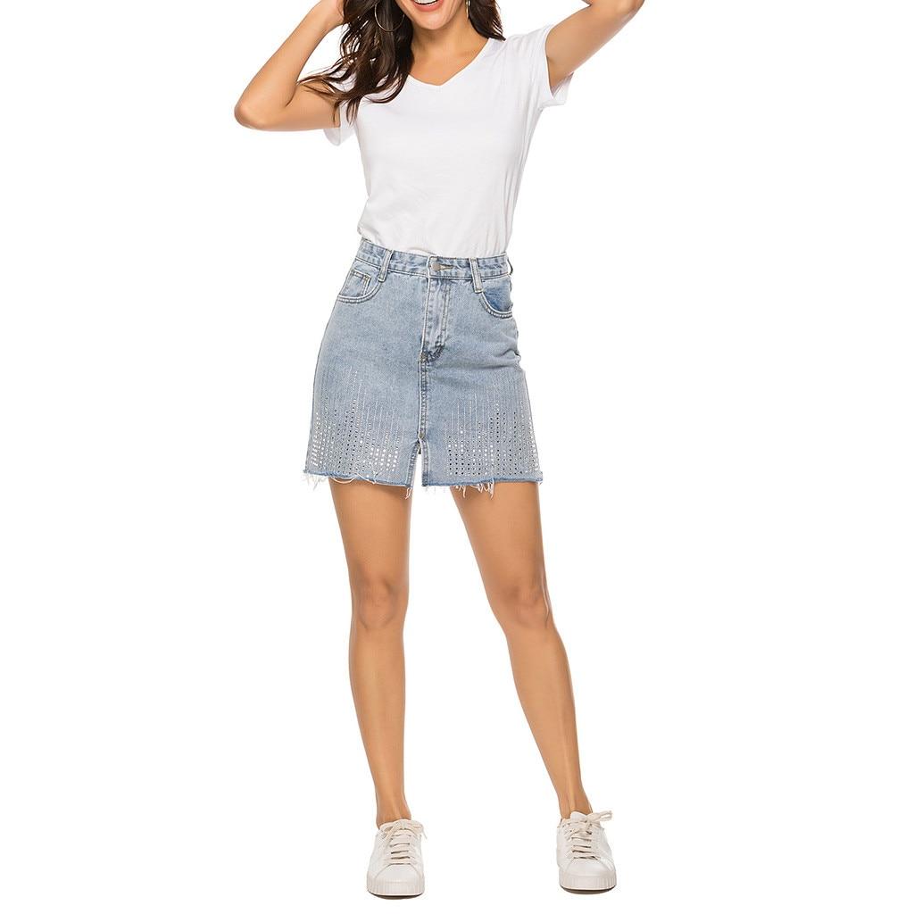 New Summer large size fringed hot diamond denim skirt women's casual waist wash washed side pocket denim skirt jupe femme 40*