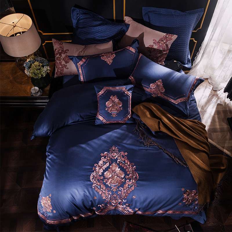 Blue Luxury European Classical Royal Embroidery Egyptian Cotton Palace Bedding Set Duvet Cover Bed Linen Bed Sheet Pillowcases