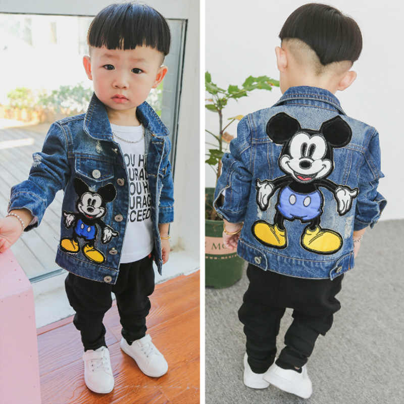 jean jacket kids clothes baby denim Color block unisex denim jacket