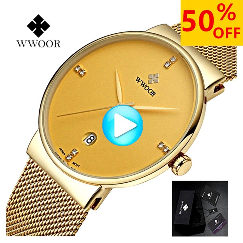 WWOOR Watch Men Waterproof Fashion Stainless Steel Luxury Business Watch Calendar Quartz Wrist Gold Watches relogio masculino