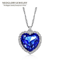 Neoglory Titanic Ocean Heart Pendant Necklace For Women Crystal Rhinestone Jewelry Accessories Gift New Sale 2014