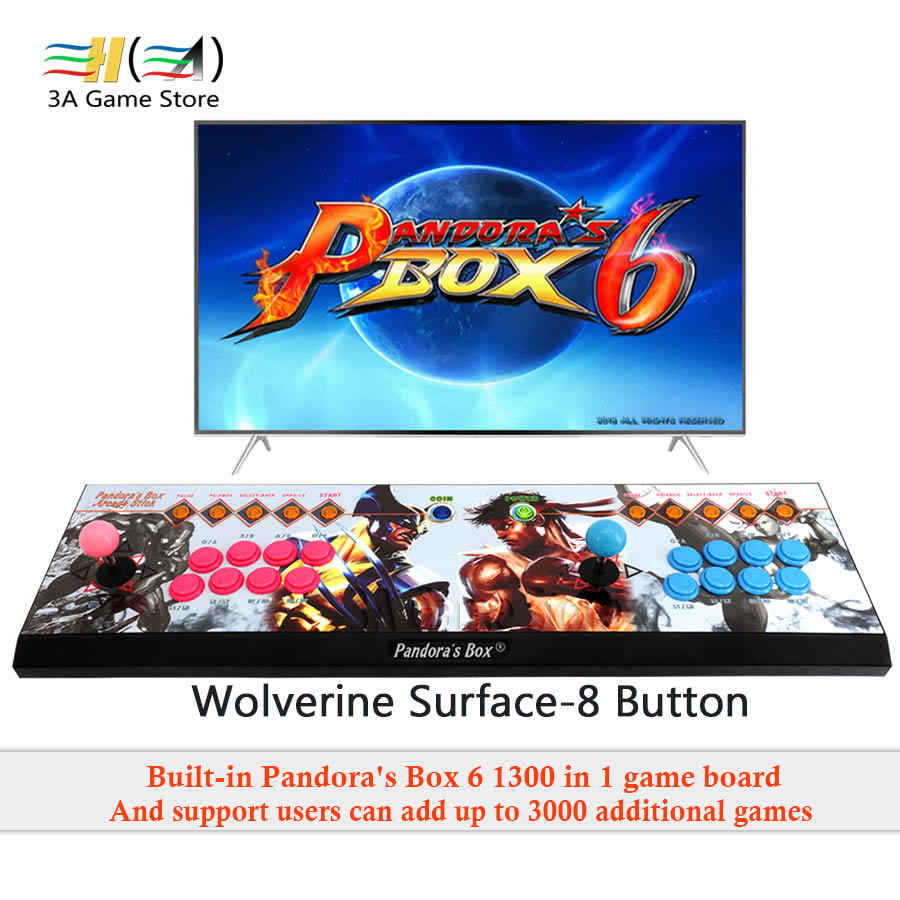 Pandora's Box 6 8 Button arcade console 1300 in 1 can add 3000 games  support 3D Fighting Game 2 Players usb joystick for pc ps3