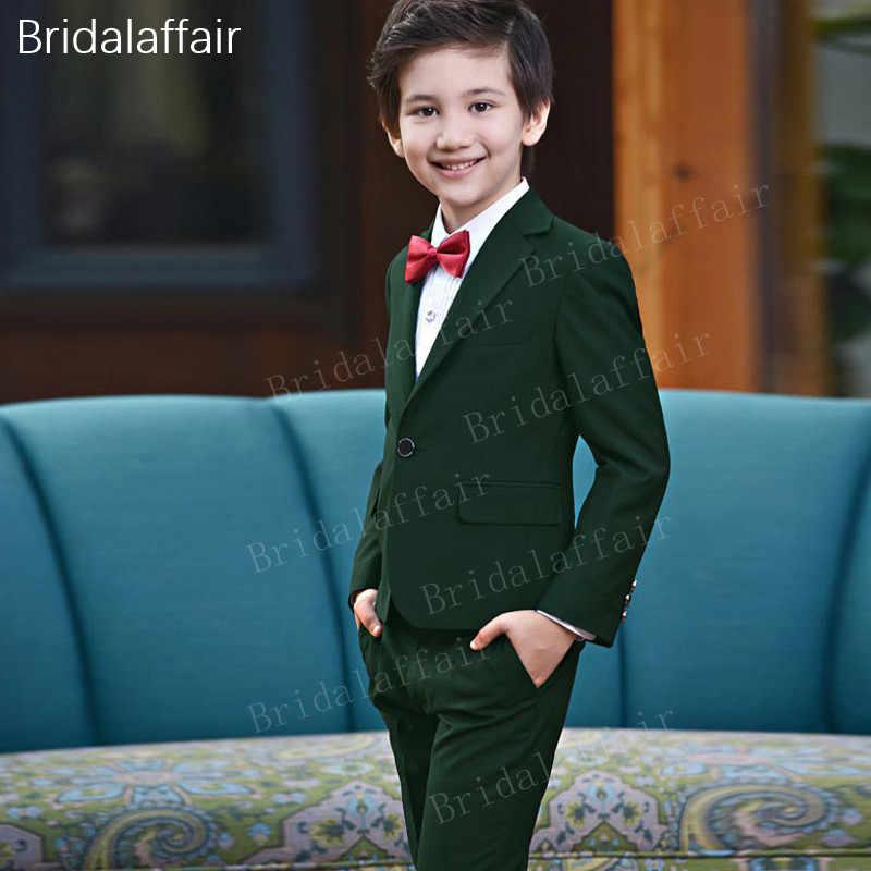 f2eb557f6a2 Замечательные Костюмы Блейзер детский костюмы зеленый Свадебные для  мальчиков смокинг дети Костюмы милый комплект формальный костюм