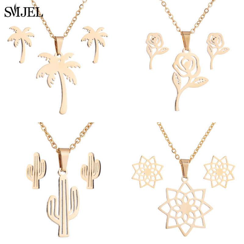 Smjel זהב צבע כף עץ שרשרת נשים Boho תכשיטי נירוסטה שרשרת קוקוס קקטוס פרח יופי מתנה קולייר Femme