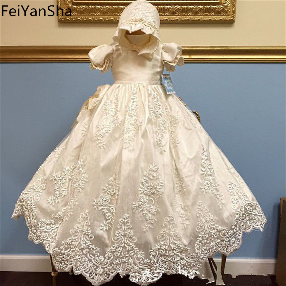 Communion Dress Vintage Short Sleeves Applique Baby Girl Baptism Christening Dresses White Beige Baptism Bow Gown fashion baby christening dress girl first communion gown gorgeous infant baptism dresses tied bow with flowers crystals lace