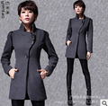 2016 New Winter Coat Women Fashion Single Button Thicken Slim Long Style Wool Blends high quality slim leather jacket Coats