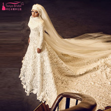 Long Sleeve Elegant Wedding Dresses Lace Long Bridal Dresses Indian African Weeding Dresses Hijab Brides gowns with Veil Z740