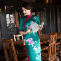 New Printed Floral Chinese Traditional Dress Women's Autumn Cotton Linen Qipao Long Slim Sexy Cheongsam M L XL XXL XXXL