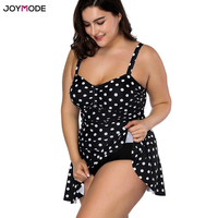 JOYMODE Black Bikini 2018 One Piece Swimsuit Women Fat Swim Dress Biquini Dots Plus Size 3XL 4XL Large Size Beach Skirt Monokini