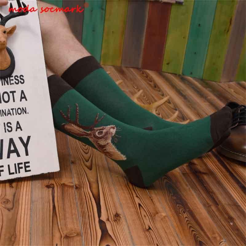 Moda Socmark 2020 New Arrival Happy Socks Men Dog Cat Shark Owl Harajuku Novelty Street Wear Funn Socks Men Cotton Long Socks