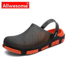 Allwesome Croc Shoes Jelly Shoes Massage Slippers Flip Flops Men Summer Sllip-on Garden Shoes Beach Sandals Zapatos De Hombre woman beach sandals cut outs summer jelly shoes casual flip flop jelly print floral garden shoes slippers print floral slippers