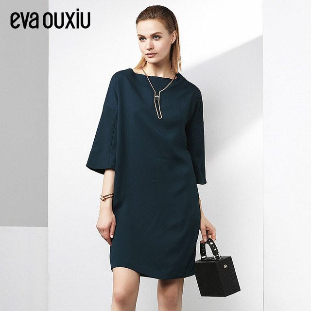 Evaouxiu Women Loose Plus Size Vintage Dress Knee length Party Formal OL  Work Dress for Lady-in Dresses from Women\'s Clothing & Accessories on ...