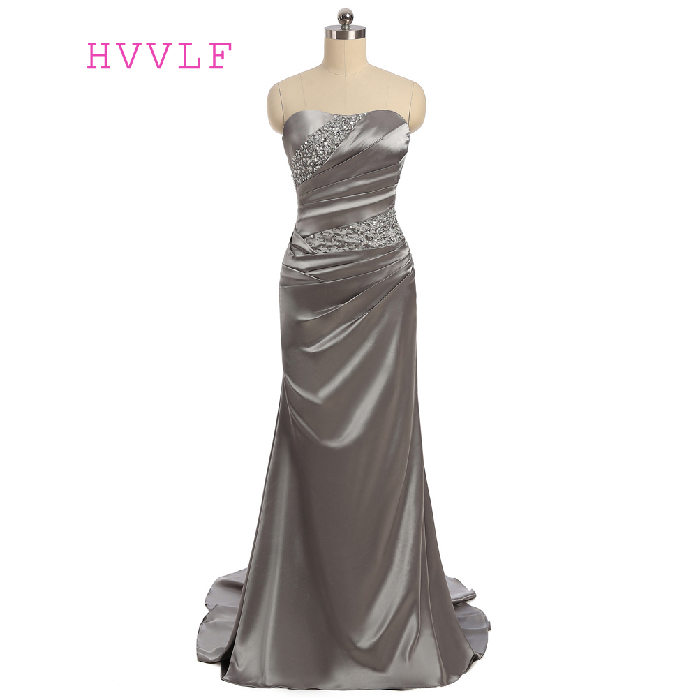 Gray 2019   Prom     Dresses   Mermaid Sweetheart Sweep Train Satin Pleated Beaded   Prom   Gown Evening   Dresses   Evening Gown