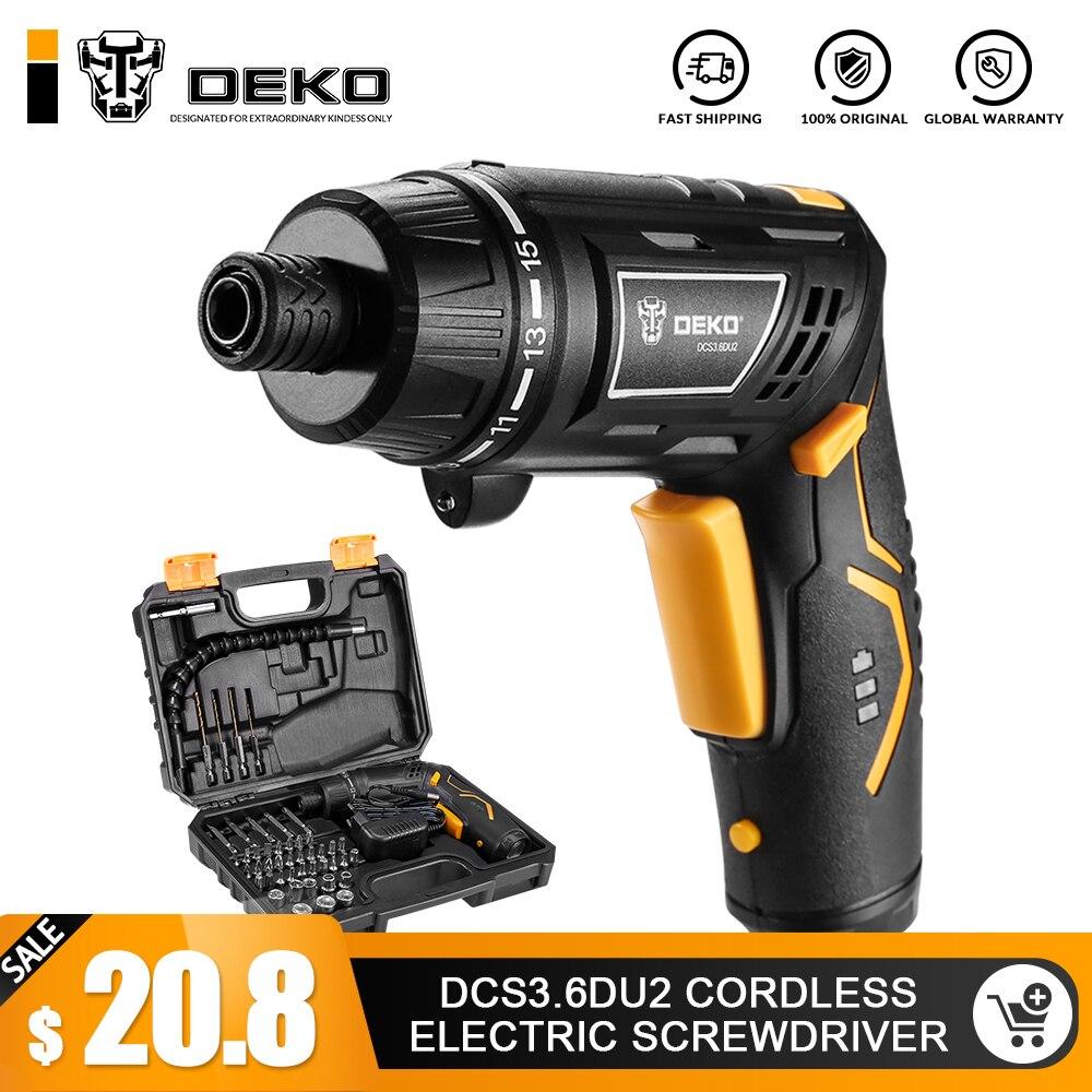 DEKO DCS3.6DU2 Akkuschrauber Haushalt akku Schraubendreher mit Verdrehbar Griff mit LED Taschenlampe