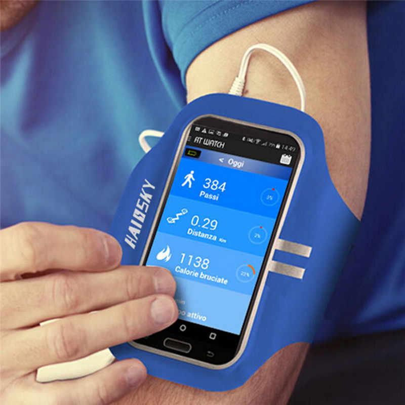 Haissky Universal GYM Sport โทรศัพท์กรณีมือ Armbands สำหรับ iPhone 7 8 6 6 S Samsung S7 S6 s5 S4 แขนผู้ถือกระเป๋า