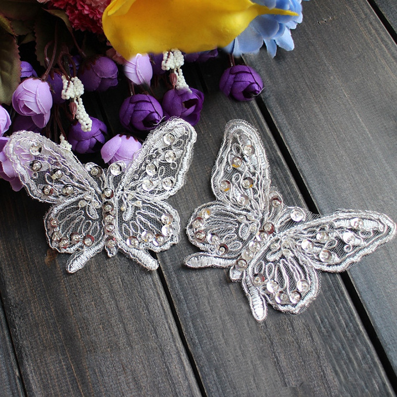 White Ivory Bridal Butterfly Embroidery Applique Patch