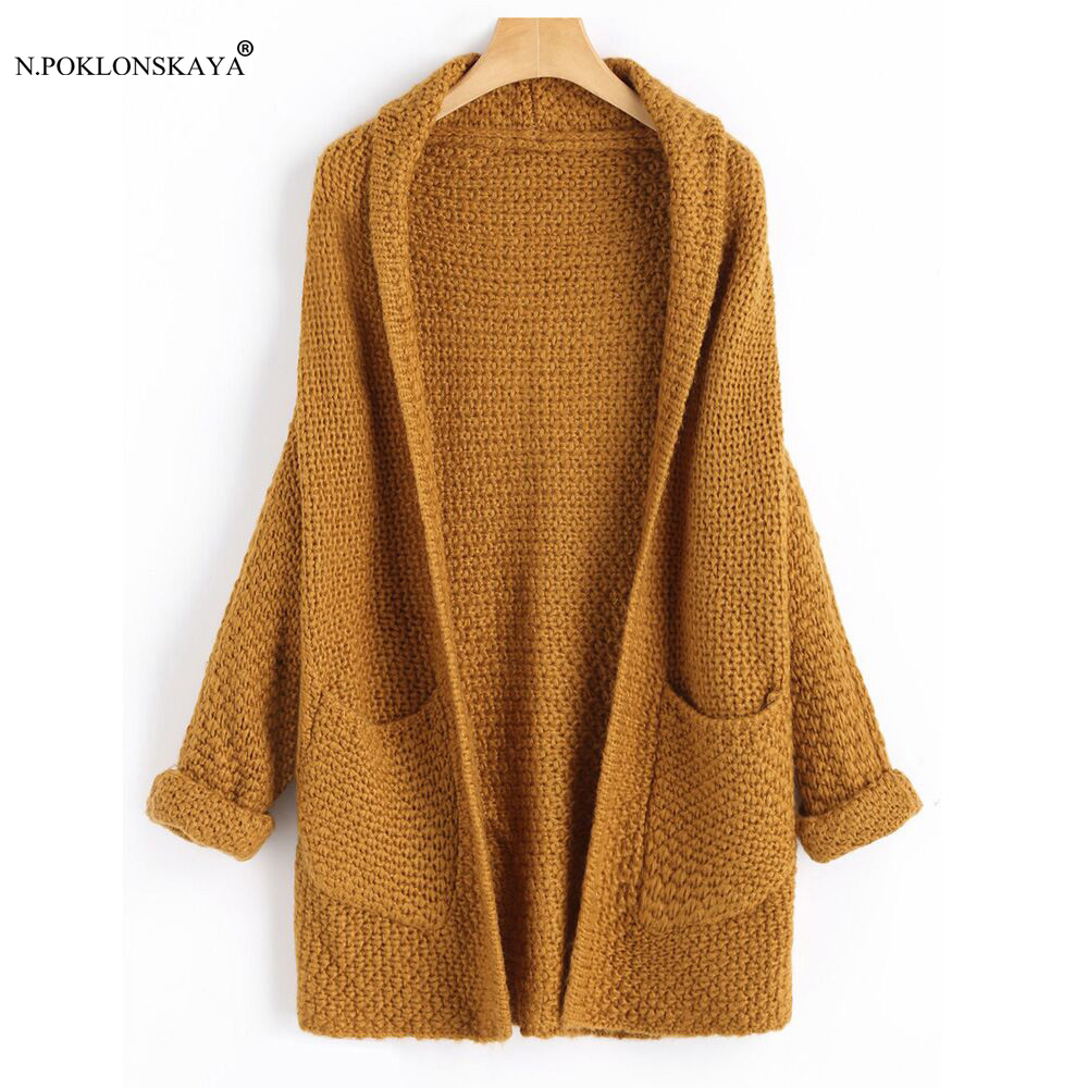 N.POKLONSKAYA Women Long Cardigans Autumn Winter Open Stitch Knitting Sweater Cardigan with Pockets Oversized Cardigan Jacket