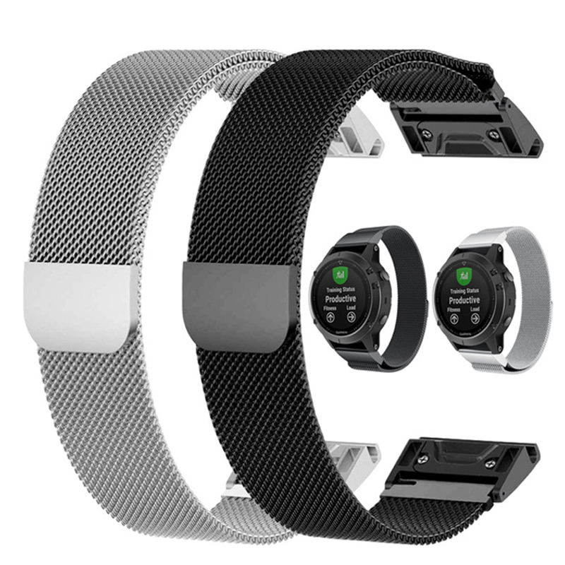 Quick Release Milanese Loop Band For Garmin Fenix 3 HR 5X 5S Watch Band 20 22 26 Mm Bracelet Belt For Garmin Forerunner 935