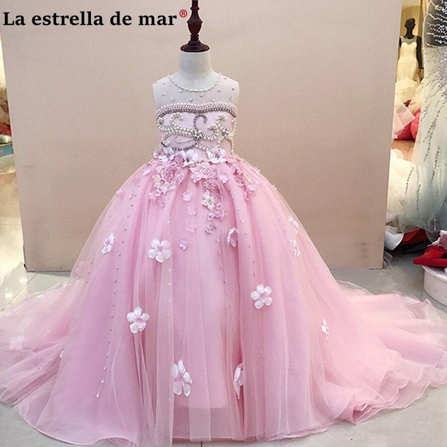 First communion   dresses   for girls2018 new lace fluffy pink sky blue   flower     girl     dress   real photos vestidos de primera comunion