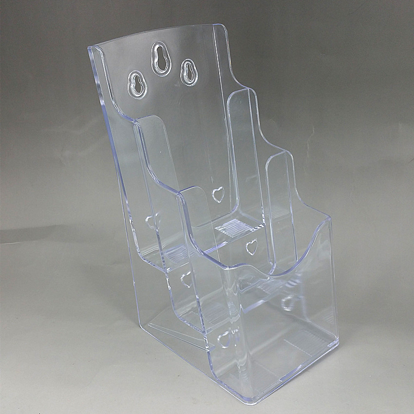 Plastic Clear A6 Three Tiers Acrylic Brochure Literature Leaflet Display Holders Racks Stands On Desktop 2pcs Good Packing clear 2pcs a5 3 tiers plastic brochure literature pamphlet display holder racks stand to insert leaflet on desktop