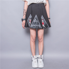 Fashion HARAJUKU embroidery applique  girl letter pleated puff skirt high waist skirts bust