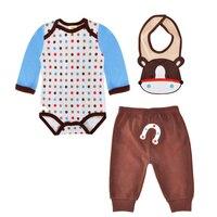 Baby Girl Clothing Sets Autumn Cartoon Animal Cow Bib Polka Dot Romper Pants 3pcs Boy Clothing