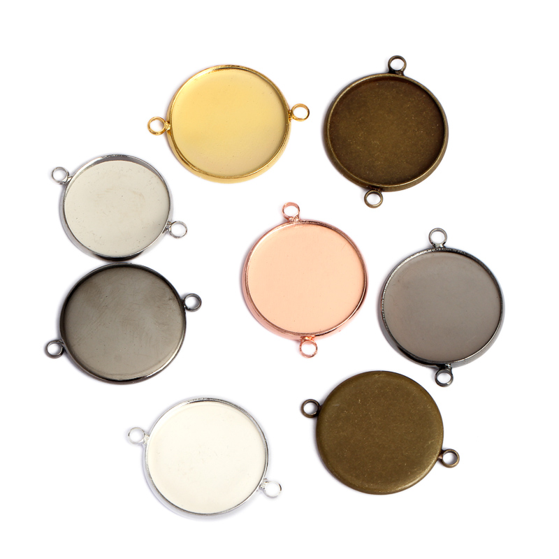 20pcs 10/12/14/16/18/20/25mm Pendant Blank Base Double Hole Cabochon Settings Bezel Trays Fit Cabochons DIY Jewelry Connector