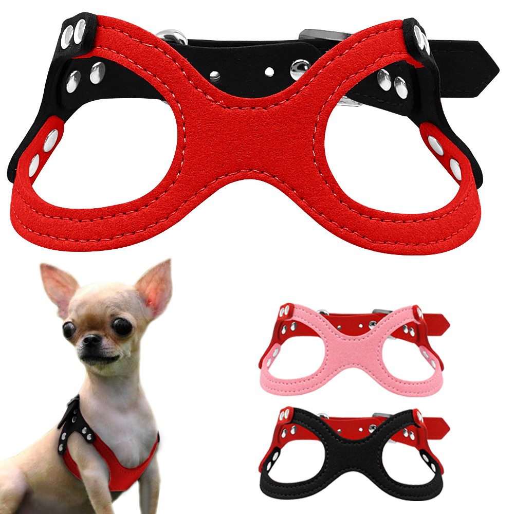 """Soft Suede Leather Small Dog Harness for Puppies Chihuahua Yorkie Red Pink Black Ajustable Chest 10-13"""""""