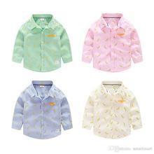 New Cute Kids Boys Fashion Shirts Banana Print Candy Color Fall Tops Cotton Blouse Wholesale