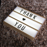 Led Letter Lamp A4 DIY Wood Light Box Wood Lightbox Led Letter Message Board Night Lamp Table Decoration Lighting Marquee Sign