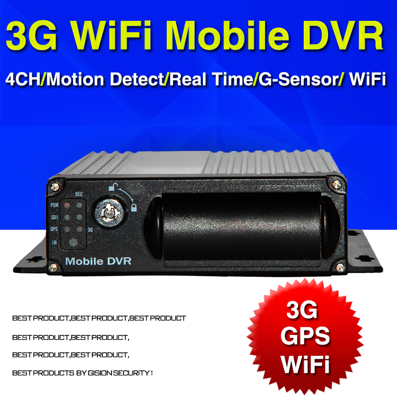 Free DHL 3G WiFi GPS Mobile DVR H 264 4CH Car DVR Real time Surveillance GPS