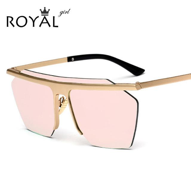 ROYAL MENINA Novas Mulheres Óculos De Sol Da Marca Metal Frame Designer Fresco de Grandes Dimensões óculos de Sol Dos Homens Óculos de Lente Espelho SS942