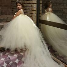 Белый, кот Принцесса Туту Платье Девушки Цветка Малышей платья Партии Свадебные Платья Невесты Для Детей Халат Enfant Fille Mariage