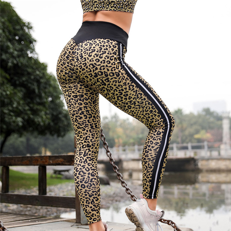 Women High Waist Leopard Wing Print Legging Running Sports Pants Trouser women Skinny trousers female Fitness Skinny pants #25A