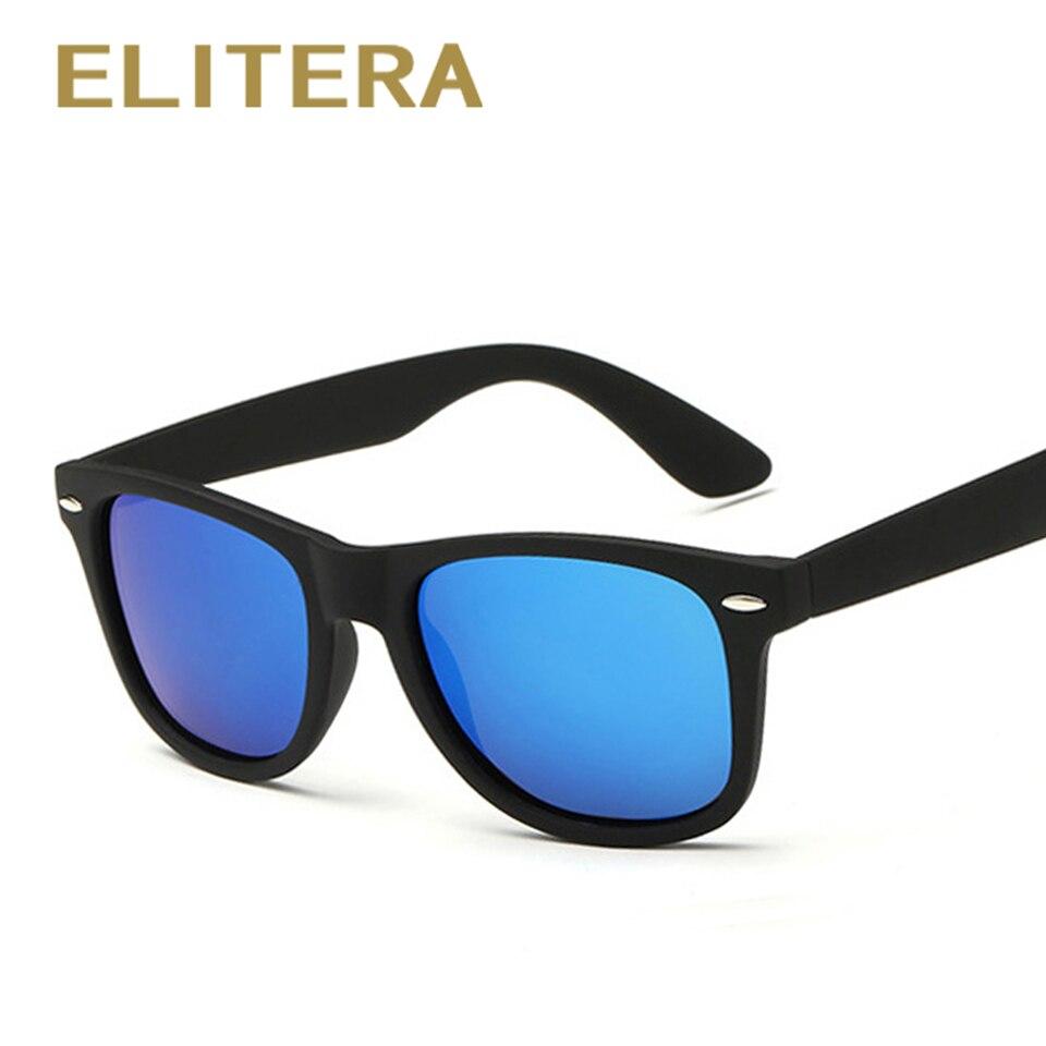 ELITERA Moda gafas de Sol Polarizadas de Los Hombres gafas de Sol de Los Hombres de Conducción Espejo Recubrimiento Puntos Marco Negro Gafas Masculinas Gafas de Sol UV400