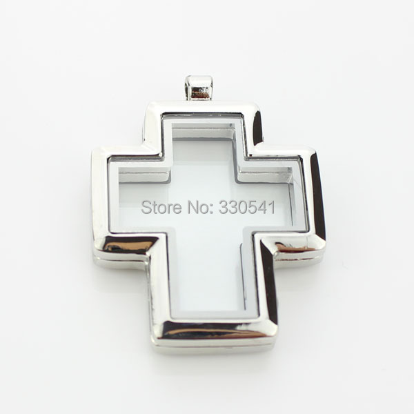 5pcs Alloy Silver Cross Magnetic Glass Floating Charm Locket For DIY Living Memory Locket Pendant