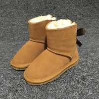 ホット女の子オーストラリア雪のブーツ 1-弓バック 100% 本物の牛革アンクルブーツ冬の子供の靴ブランド Ivg サイズ EU21-35