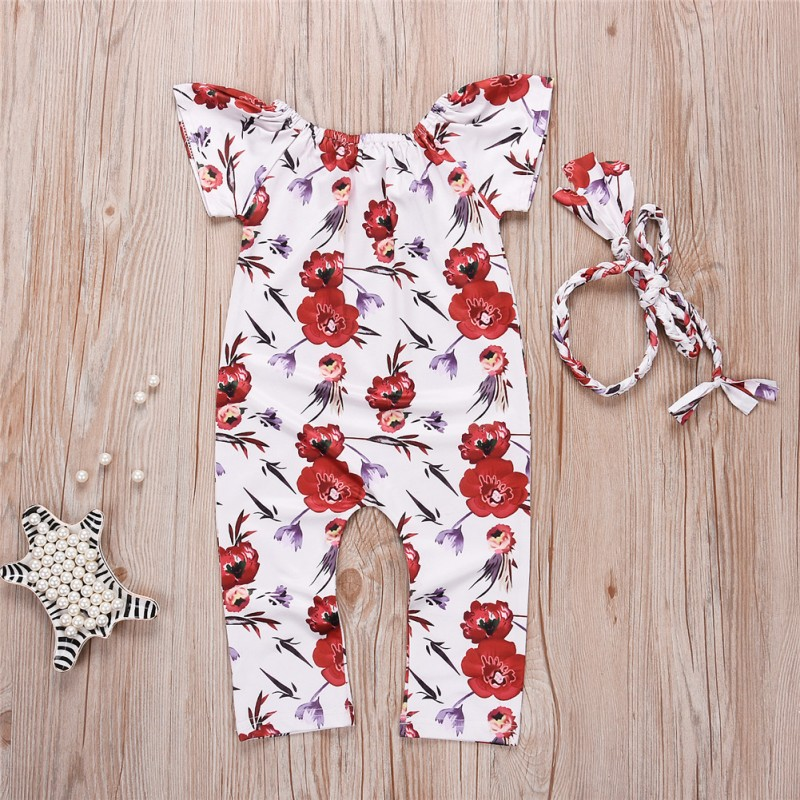 Toddler Baby Girl Floral Clothes Sleeveless Romper Jumpsuit Headband Outfit Baby Girl Bandage Printed Romper White
