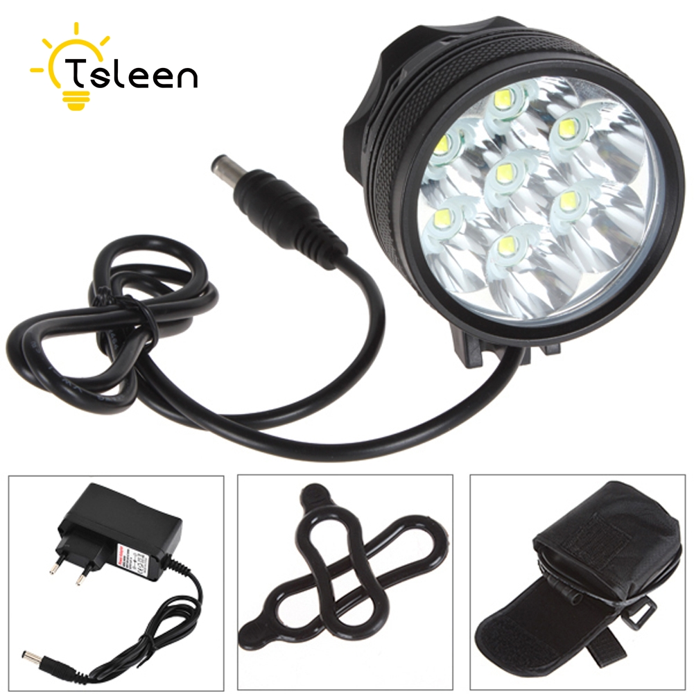 TSLEEN Power 8400Lm 7XCree XM-L T6 LED Rechargeable Bicycle Light Bike Lights HeadLight+8800mAh Battery Pack+Headband Charger cree xm l t6 bicycle light 6000lumens bike light 7modes torch zoomable led flashlight 18650 battery charger bicycle clip