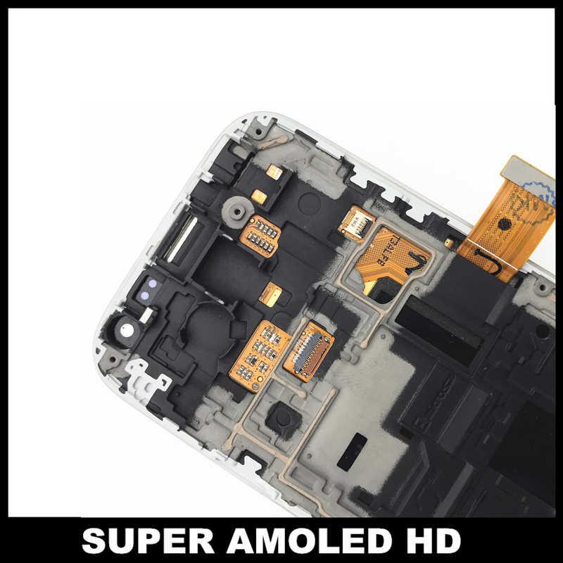 قطعة بديلة لمستشعر شاشات LCD لسامسونج غالاكسي S4 البسيطة I9190 i9192 i9195 LCD سوبر AMOLED عرض شاشة رقمية تعمل بلمس مع الإطار