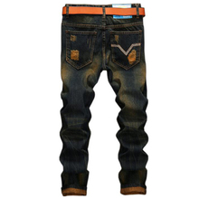 Men's jeans high quality Straight Hole jeans men Casual Retro Slim Jeans Pants ripped  jeans for men denim trousers