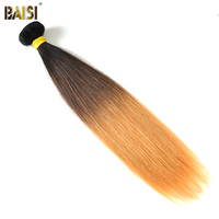 BAISI Brazilian Straight Remy Hair Ombre 1B#4#27# Color Hair Full and Thick Hair Weave Free Shipping 1/3/4pcs