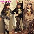 Malayu Ребенка 2016 Взрыв моделей Девушки Одежды Малышей Девушки Одежда Наборы Новорожденных Девочек Дети Одежда Детская Одежда Leopar